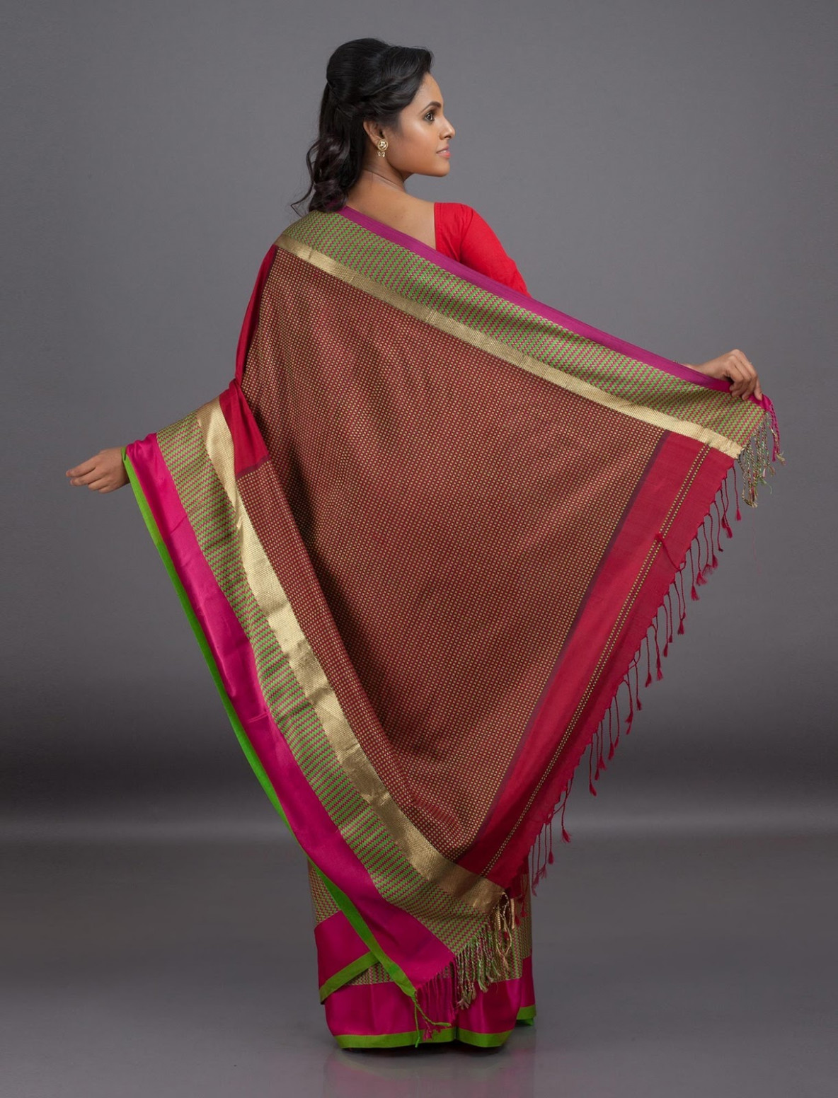 Saree Market: Maheshwari Cotton Saree Red Colour