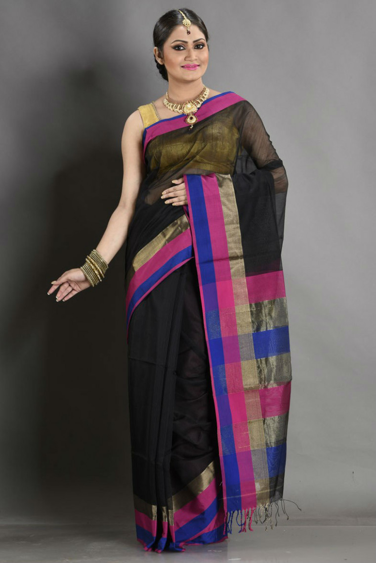 Saree Market: Maheshwari Sarees Black Colour