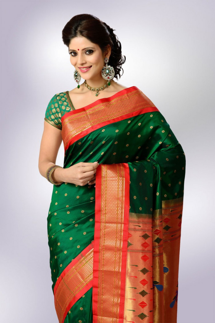 Saree Market: Paithani Saree Green Colour