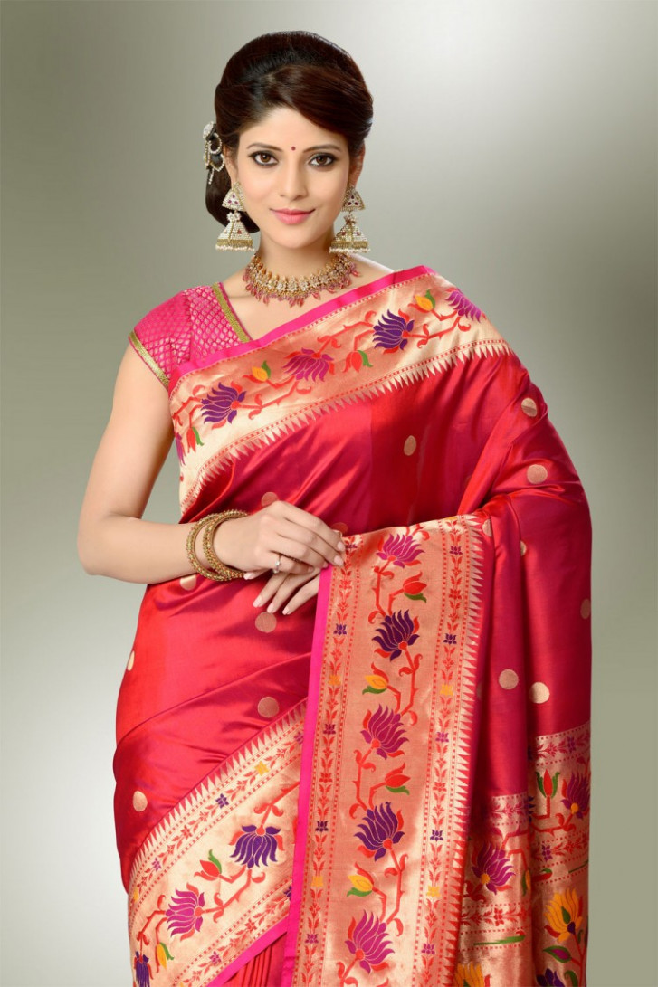 Saree Market: Paithani Saree Maroon Colour