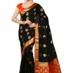 Saree Market: Pure Mysore Silk Saree Black and Orange Colour