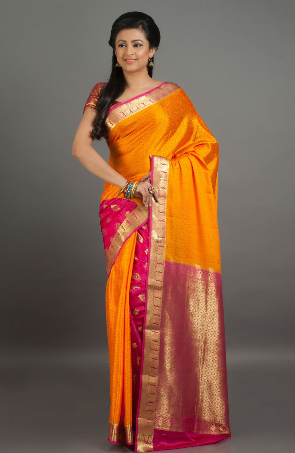 Saree Market: Pure Mysore Silk Saree Orange Colour