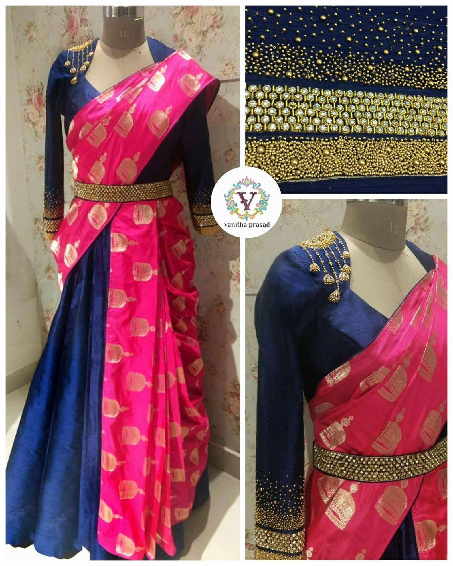 Saree paired with skirt. The look for your next occasion