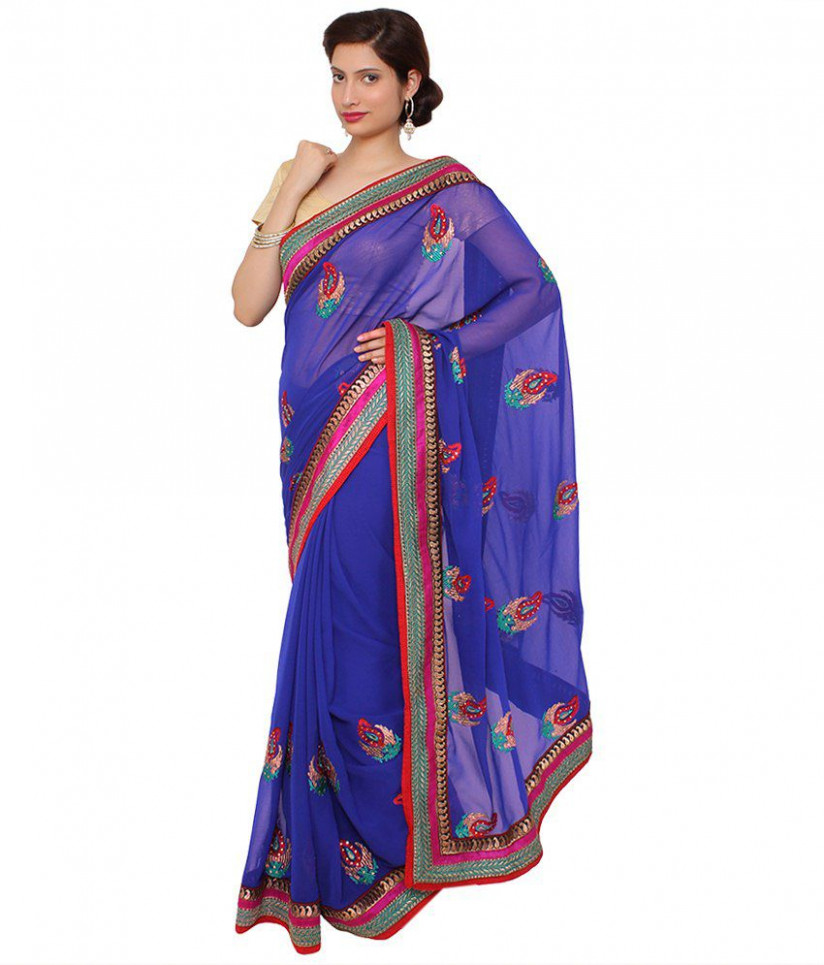 Saree Palace Blue Semi Chiffon Saree - Buy Saree Palace