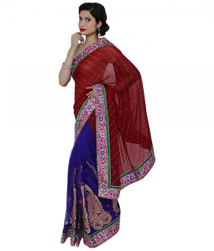 Saree Palace Maroon Semi Chiffon Saree - Buy Saree Palace
