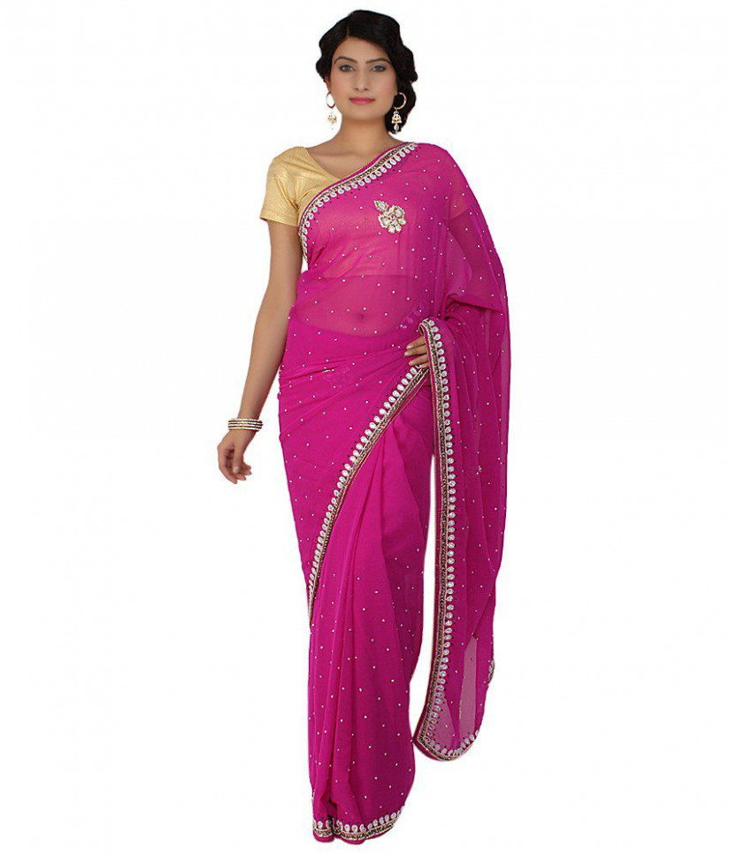 Saree Palace Pink Semi Chiffon Cutdana Work Saree - Buy
