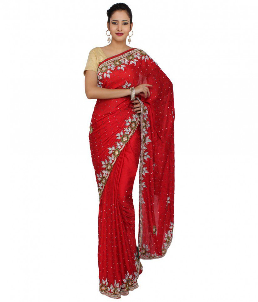 Saree Palace Red Art Crepe Saree - Buy Saree Palace Red