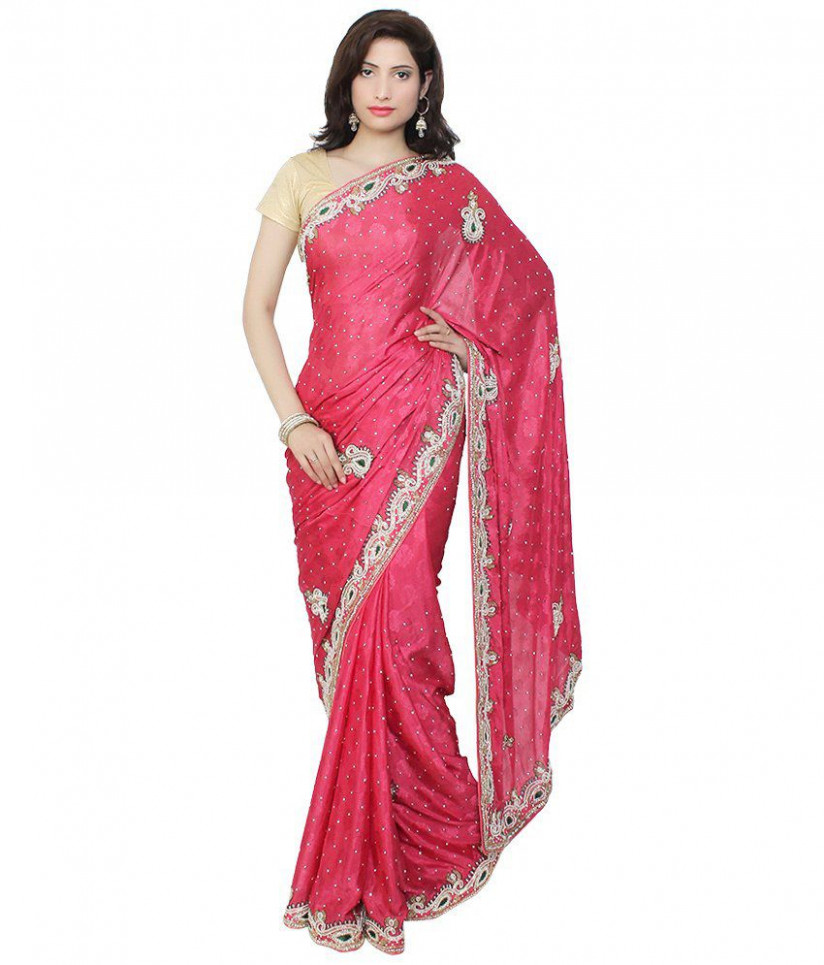 Saree Palace Red Art Silk Kashmiri Work Saree - Buy Saree