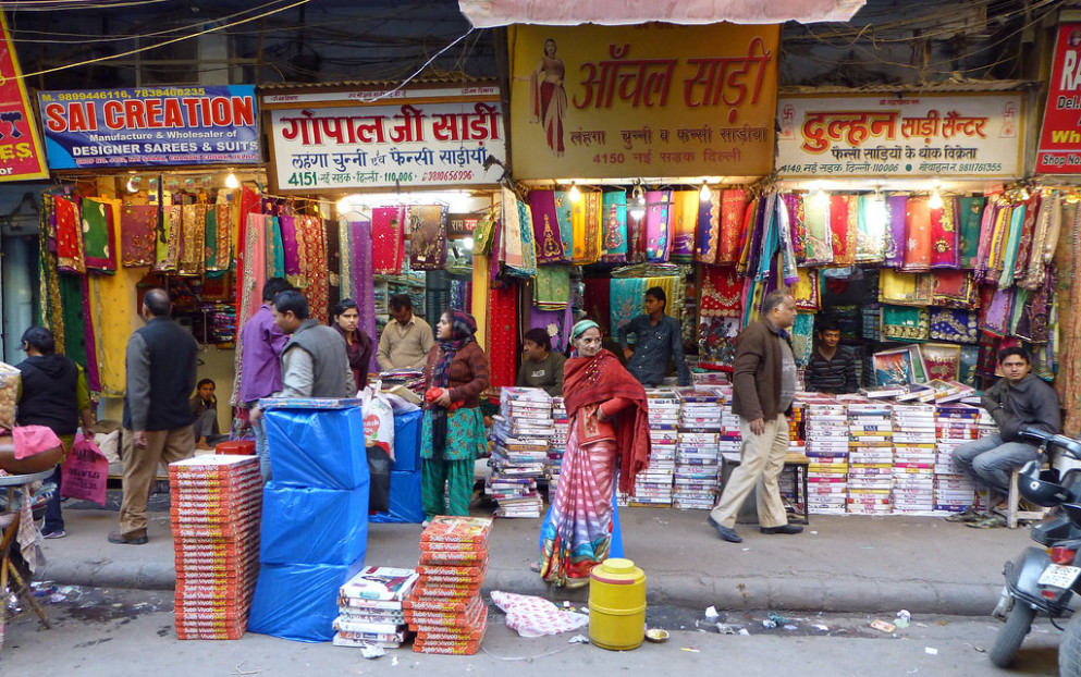 Saree Shops and Shoppers - Old Delhi  This street