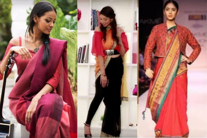 Saree with crop top, saree with shirts: If the traditional