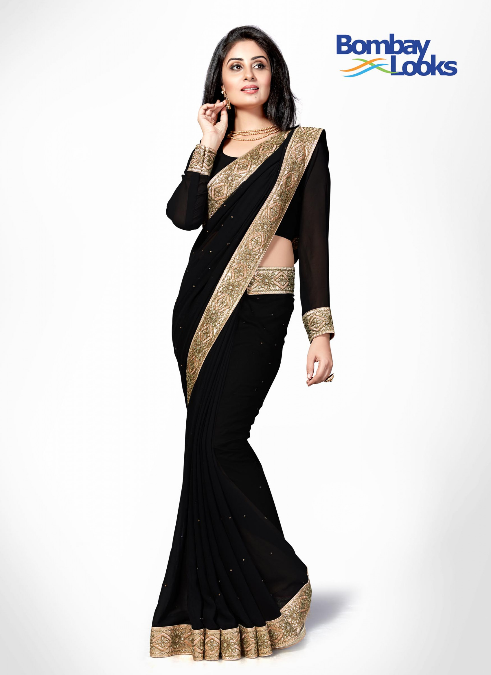 Sarees : Classic black georgette saree with thick gold border