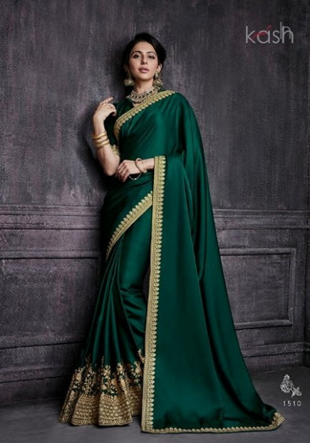 Sarees : Emerald Green Color Soft Silk Saree 1510