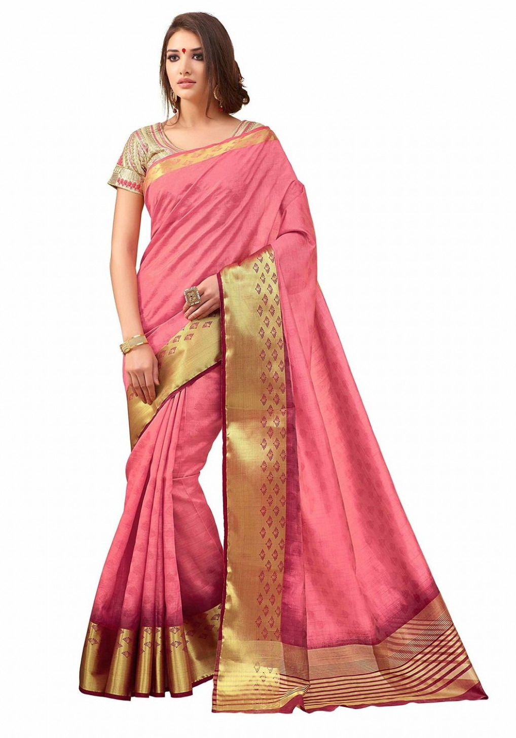 Sarees : Pink Color Tussar Silk Saree 2054