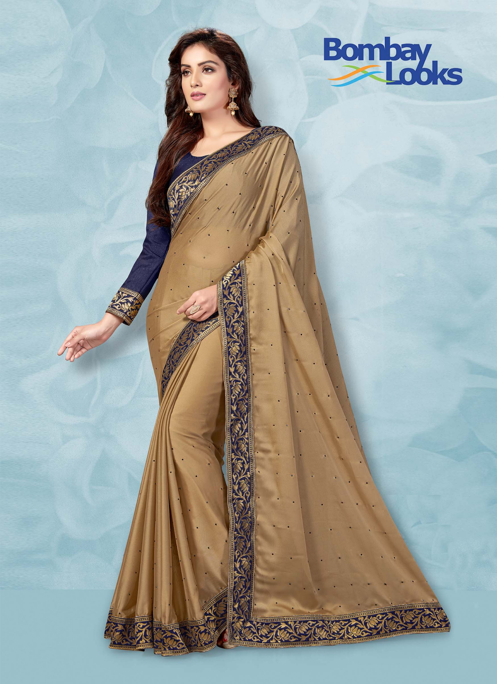 Sarees: Rangoli gold saree with contrast blouse