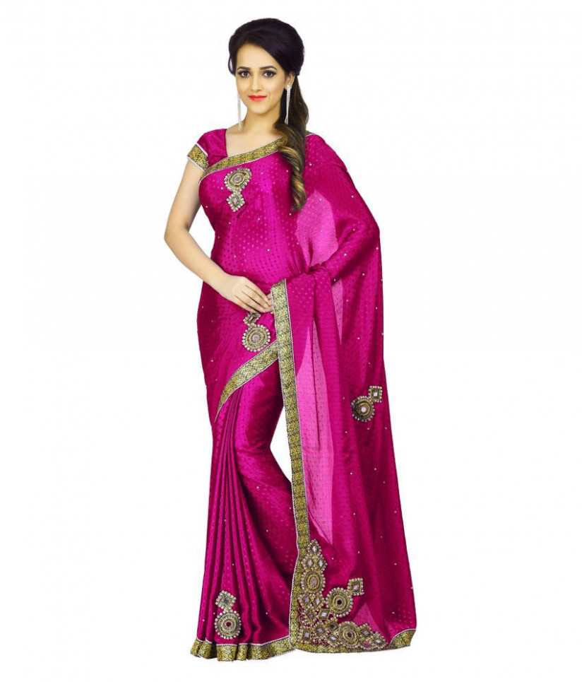 SareeShop Designer Pink Silk Saree - Buy SareeShop
