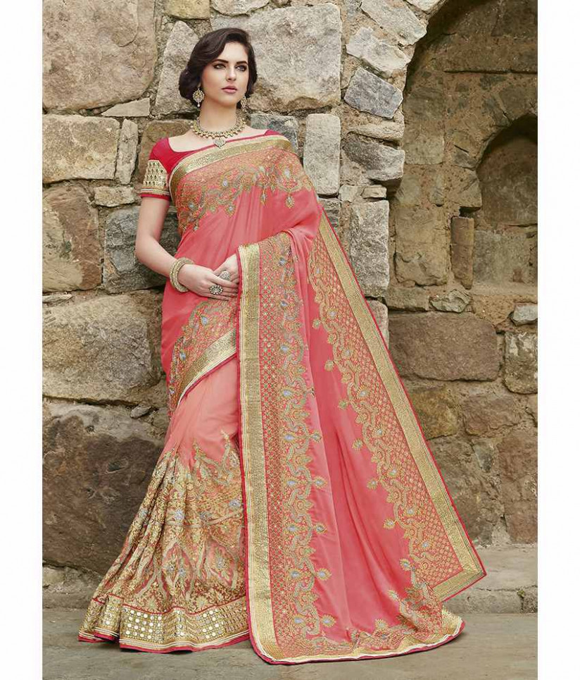 SareeShop Designer SareeS Brown and Beige Georgette Saree