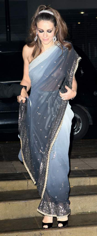 Scandals: Liz Hurley Saree Without Blouse