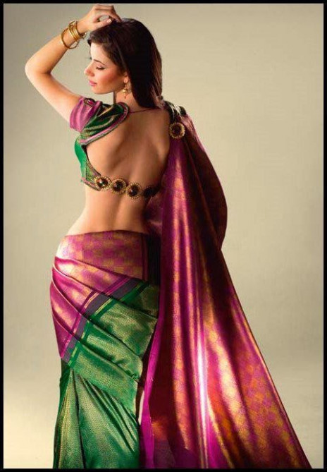 sexy backless blouse  Saree Fashion