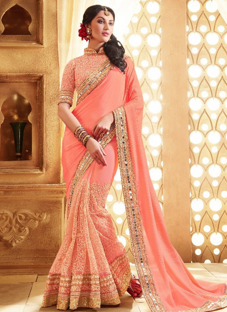 Shop Hypnotizing Mirror Work Pure Chiffon Designer Saree