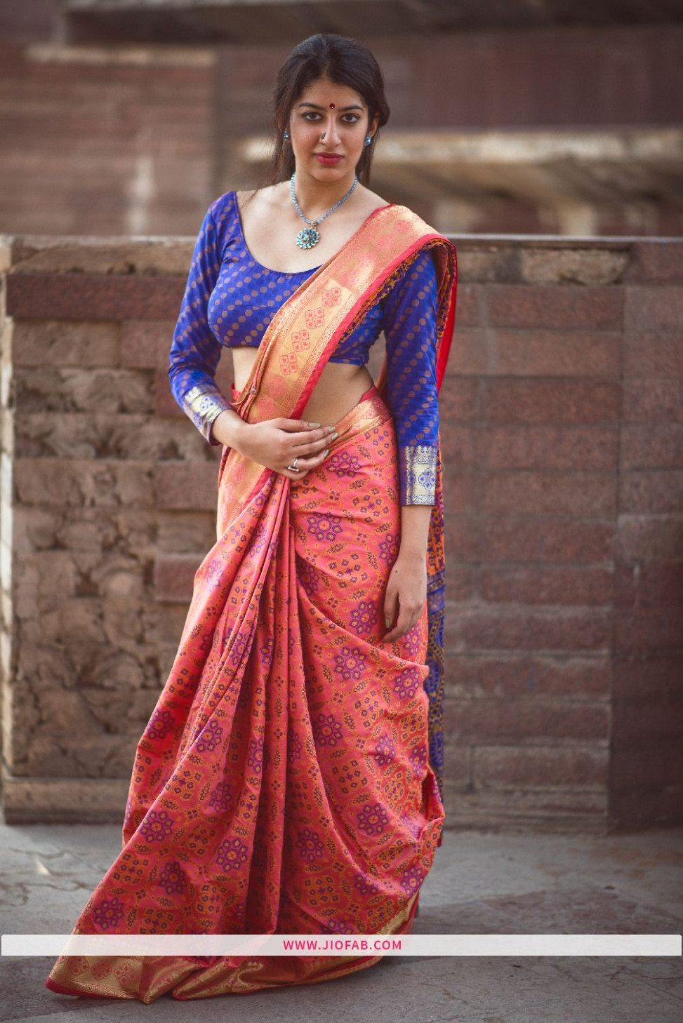 Shop Now Salmon Pink Patola Silk Designer Saree With Best