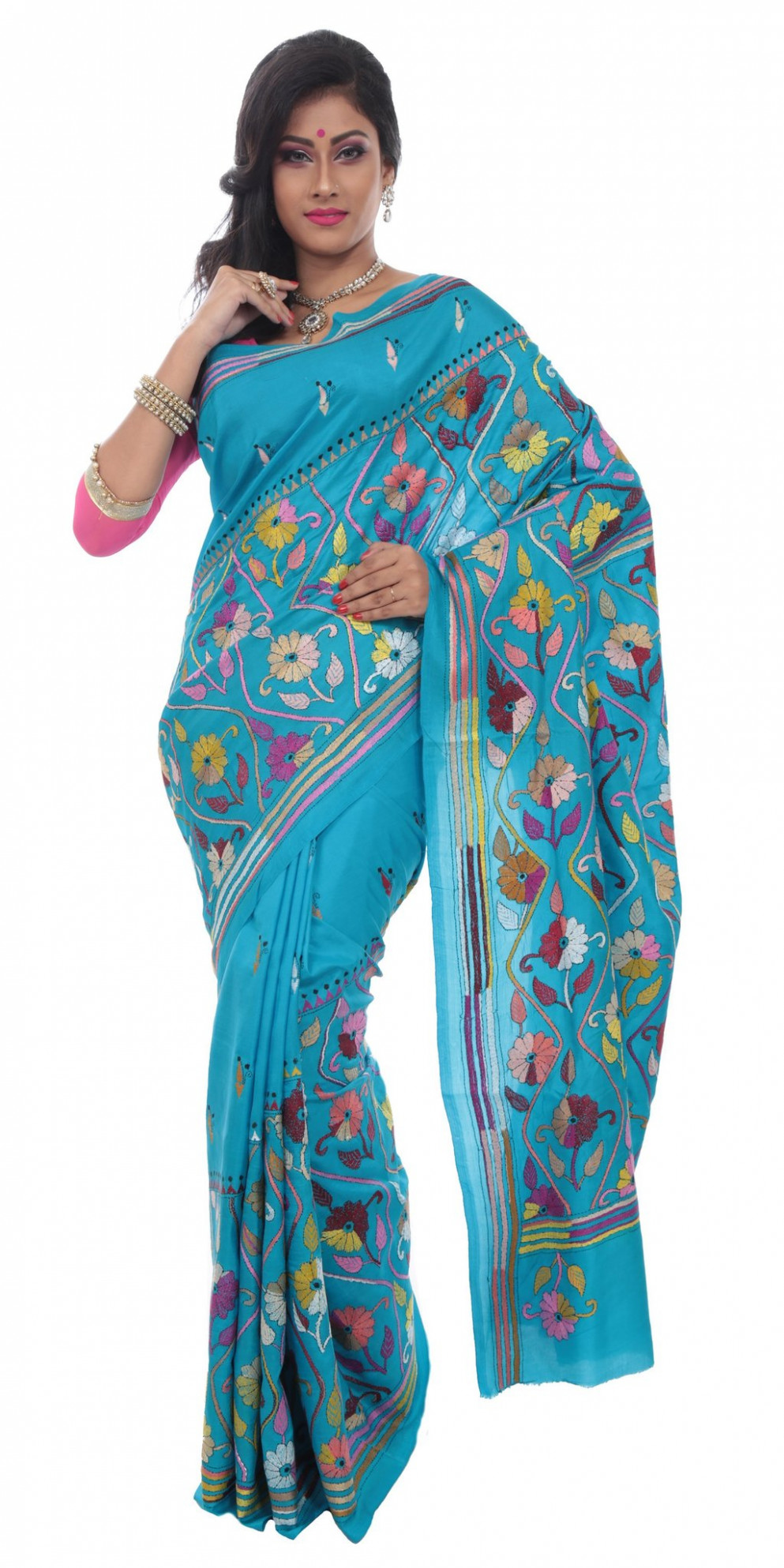 Shop online for Kantha embroidered silk sarees of Bengal