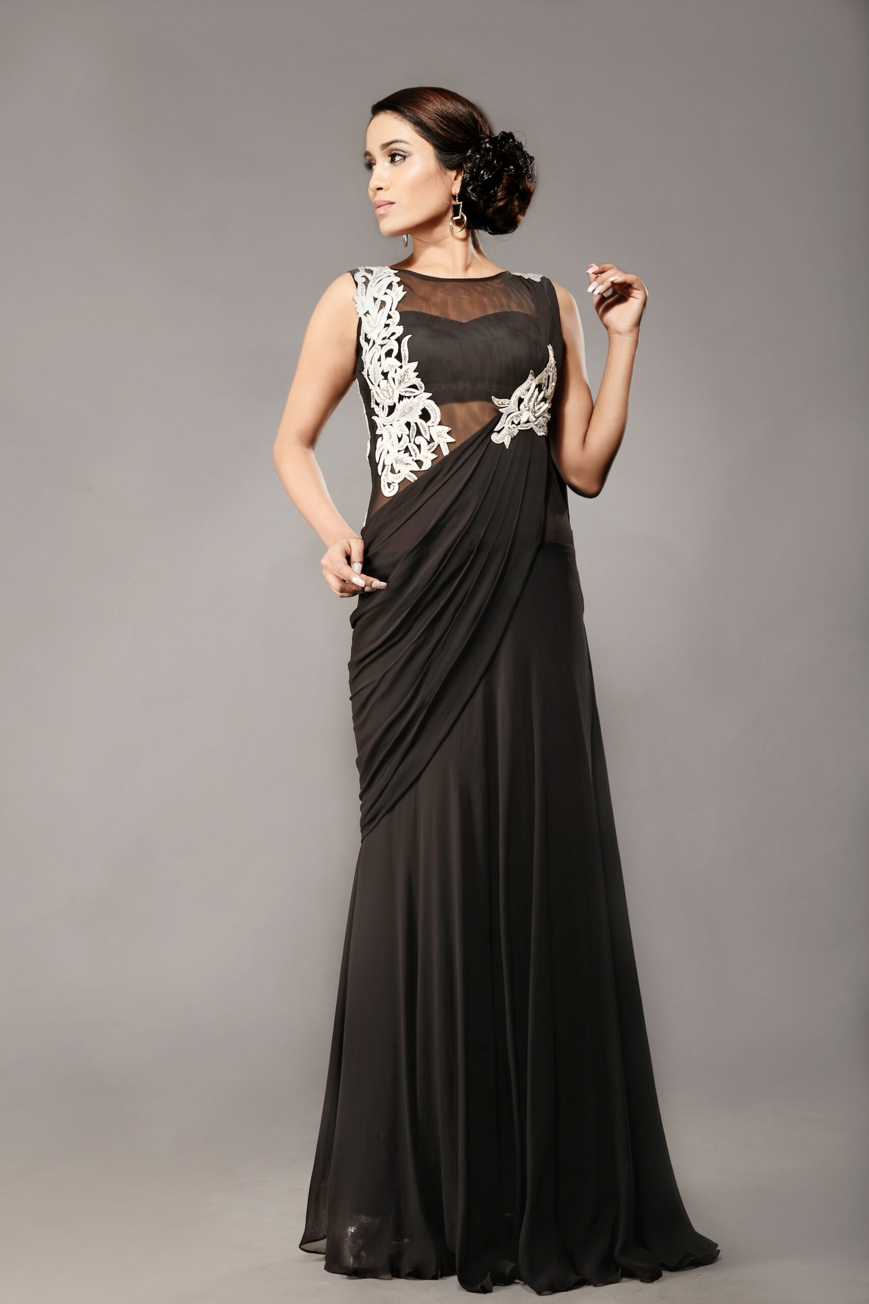 Shop online latest Black Stitched Gown Saree - AD Singh