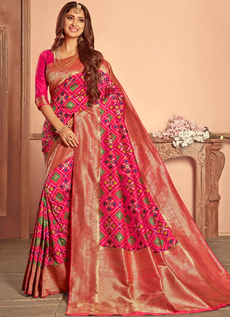 Shop Patola Silk Hot Pink Weaving Traditional Designer