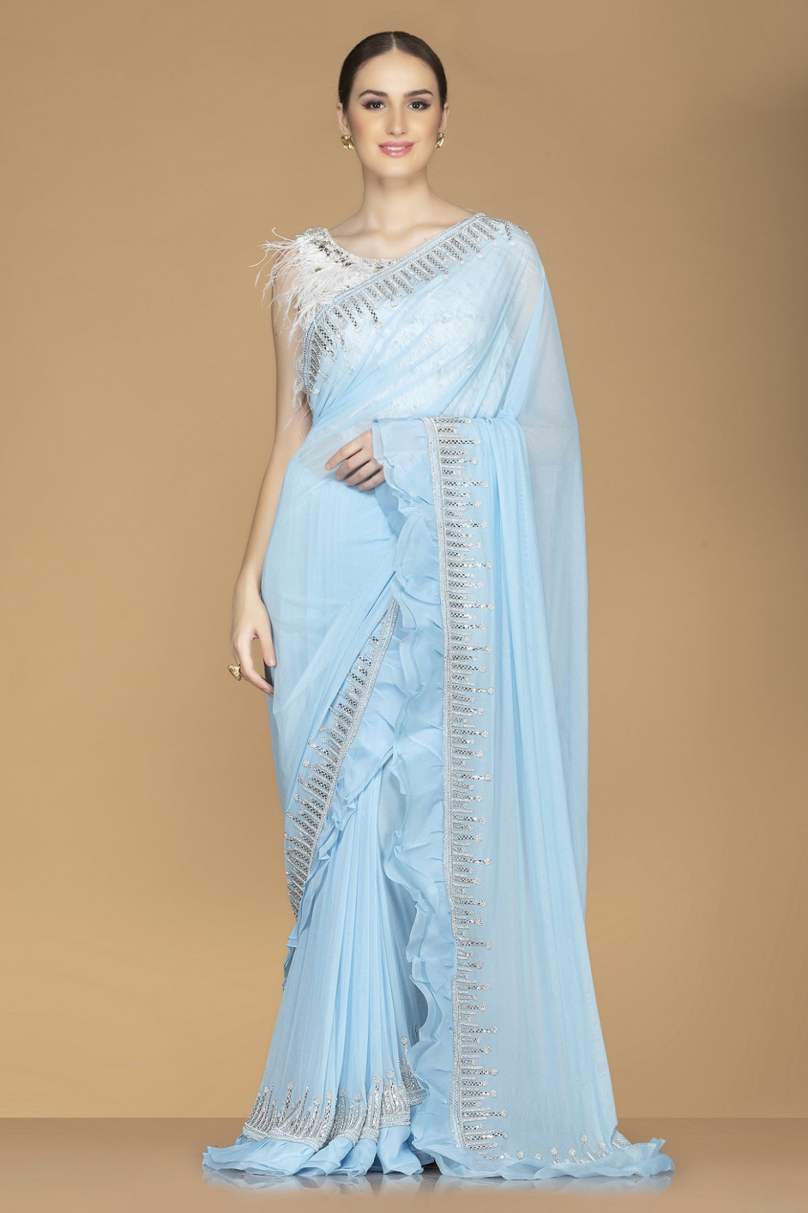 Shop Sky Blue Embroidered Saree Online in USA with Fringe