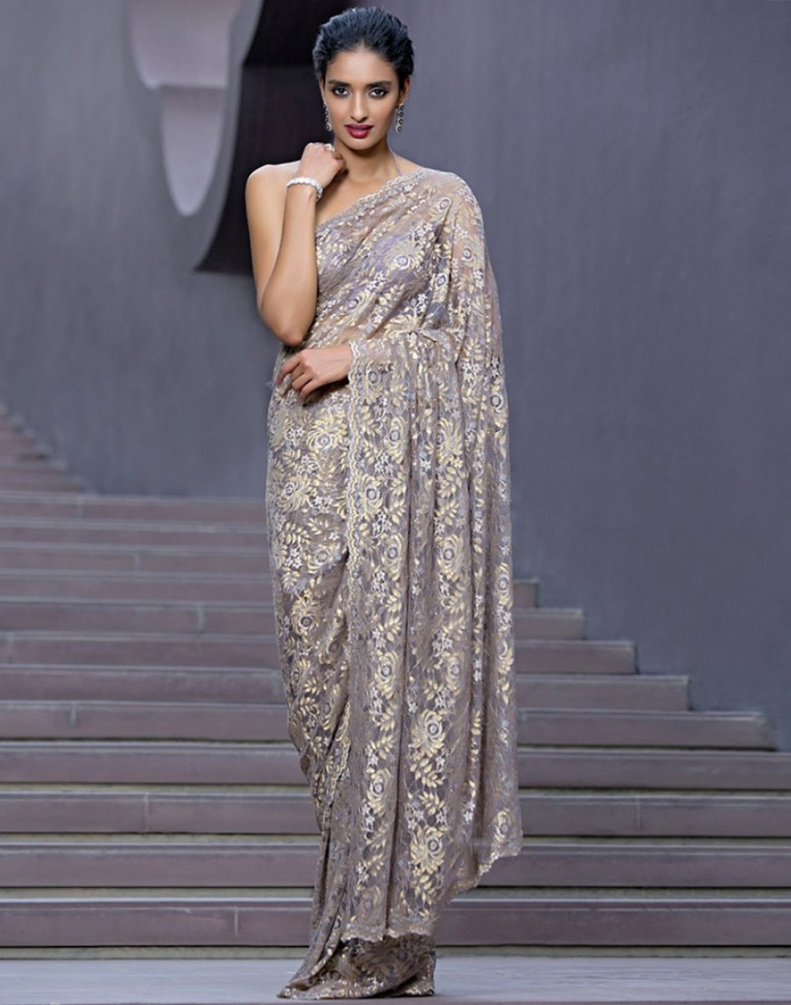 Shopping For  Chantilly Lace Saree Embellished With