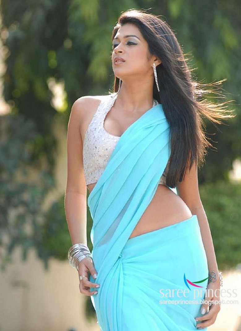 shraddha das spicy pics in a blue erotic saree flaunting