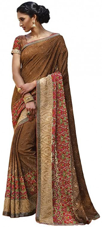 Shree Designer Sarees Women's Bountiful Brown Georgette