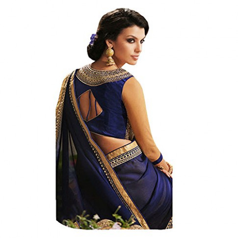 Shree Designer Sarees Women's Repute Brown & Navy Blue