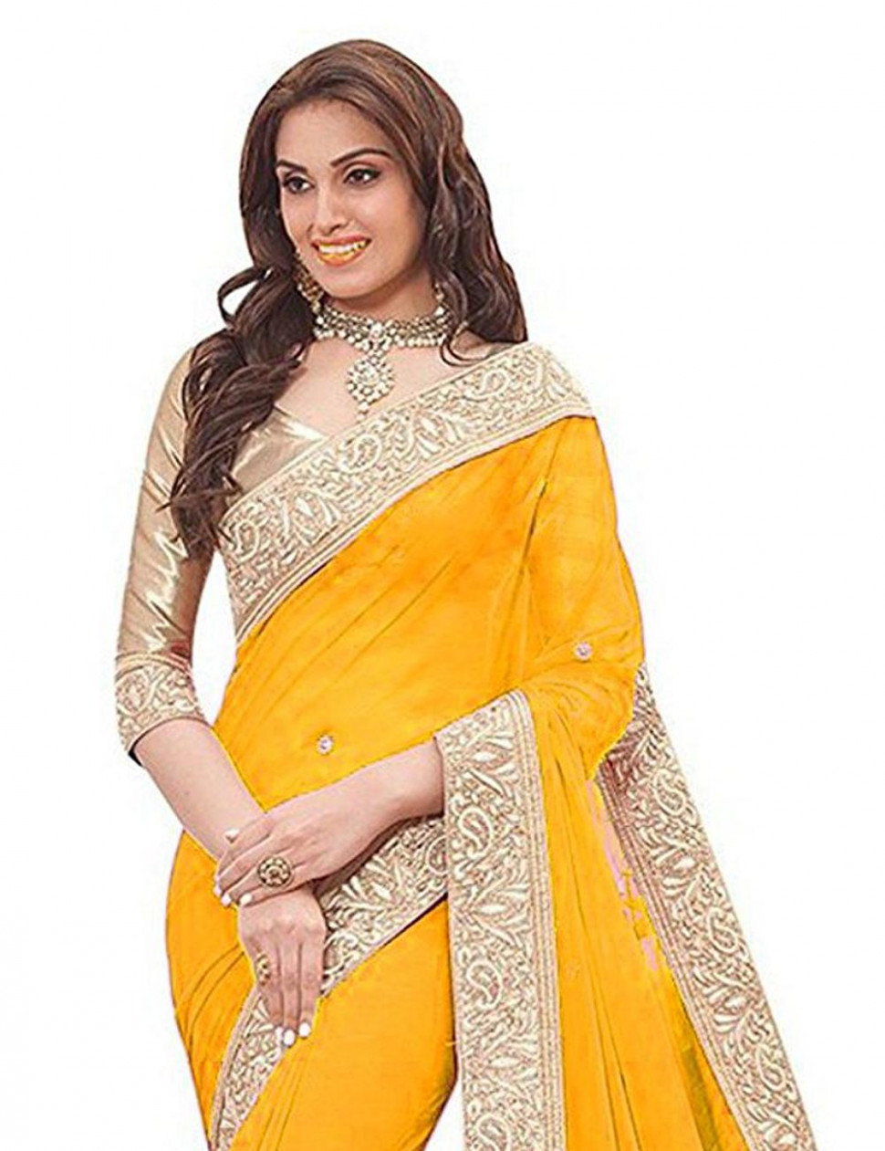 Shree Georgette Saree (Ar-039_Yellow): Amazon.in: Clothing