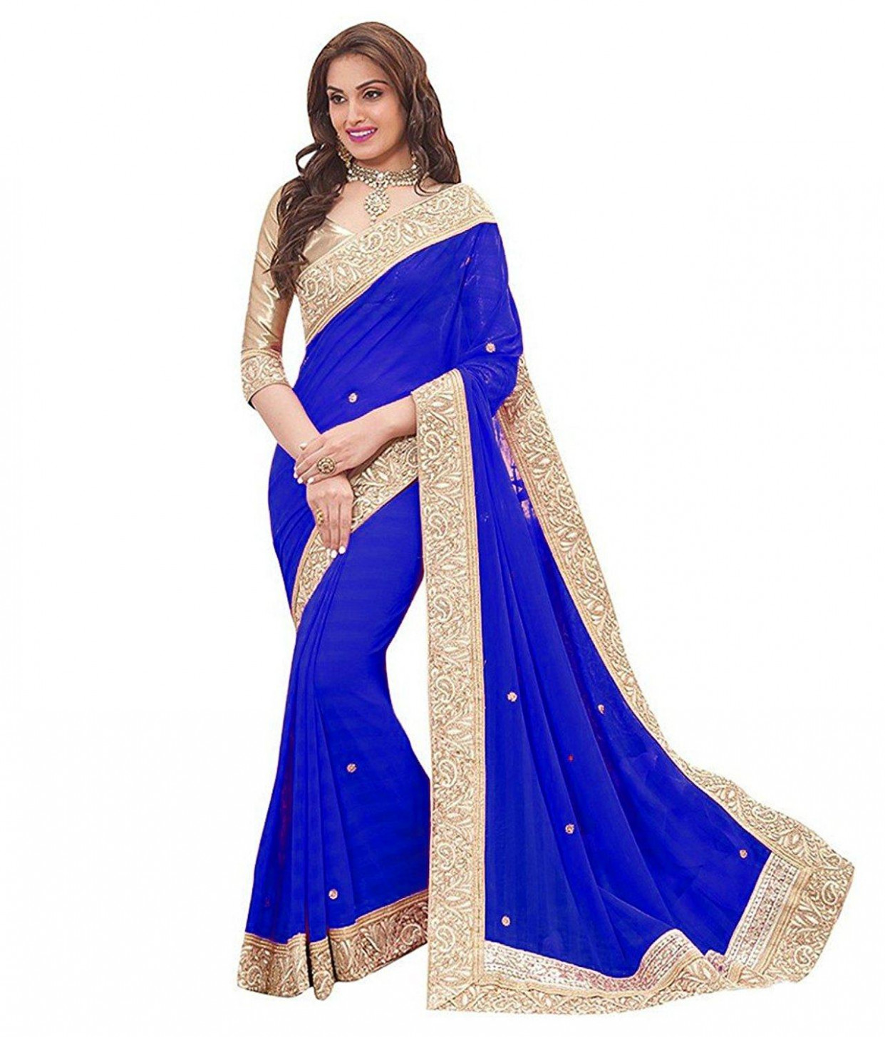 Shree Georgette Saree With Blouse Piece(ar-036_Blue_Free