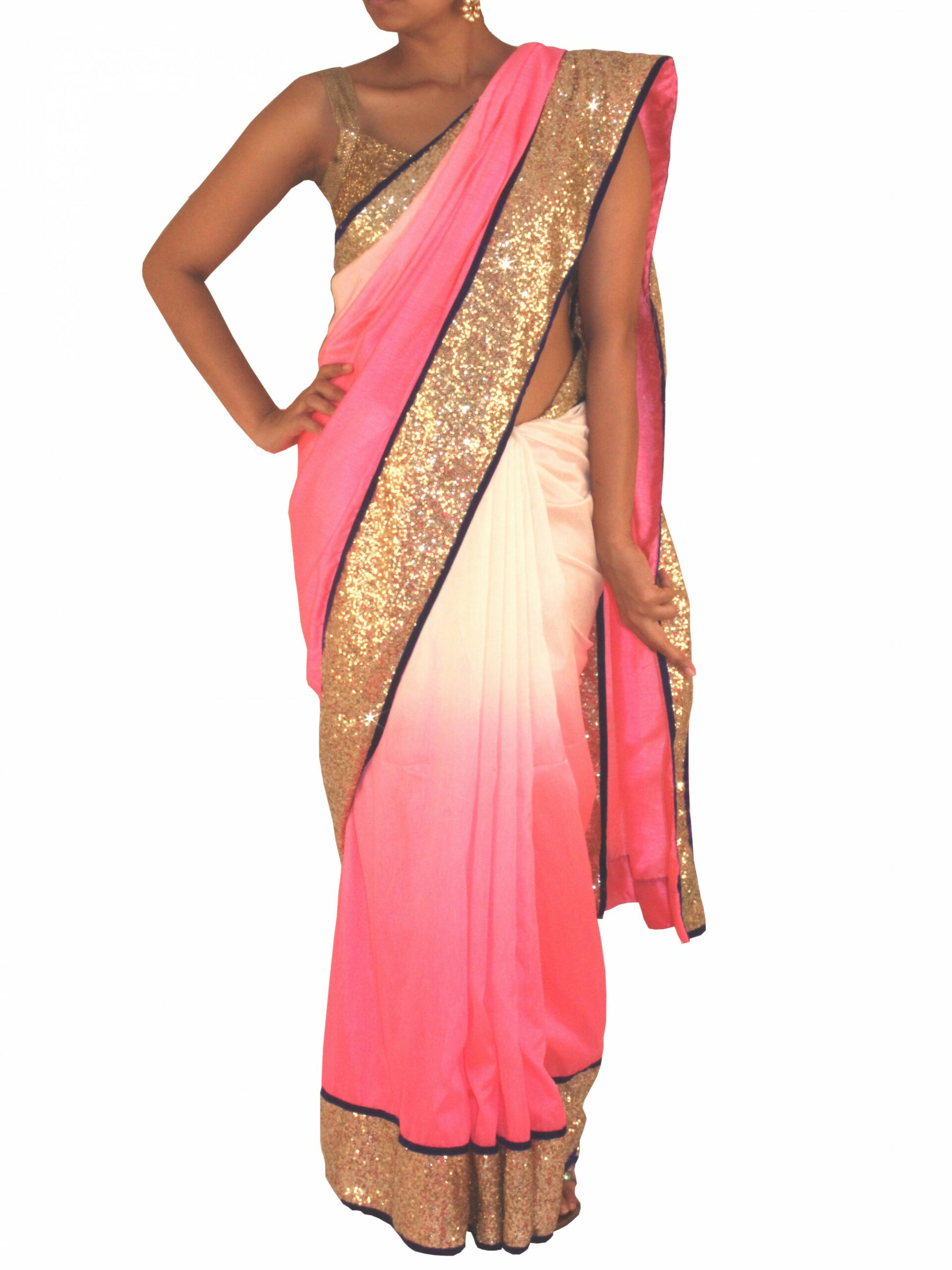 Silk and Sequin saree in Gold/ Pink and white-Online Shopping-