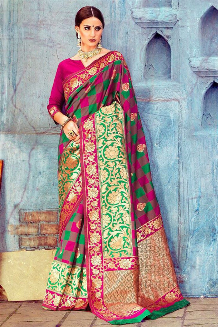Silk Saree With Latest Blouse Designs Catalogue Online