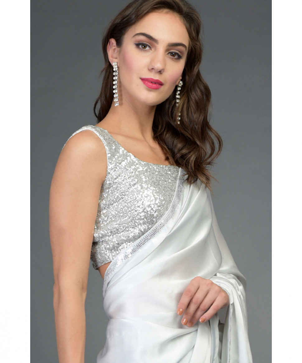 Silver Grey Sequin Embroidered Saree & Blouse