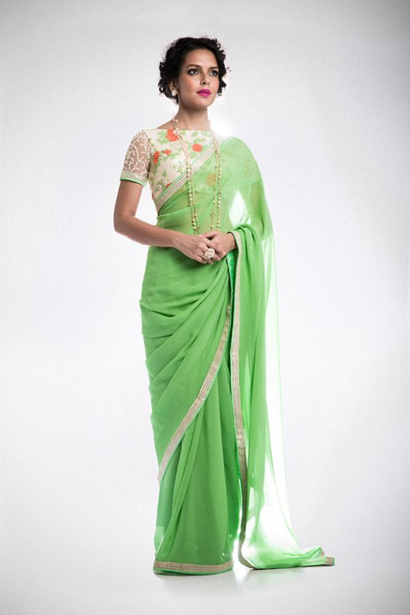 Simple Saree with Floral, Boat Neck Blouse  Fashion