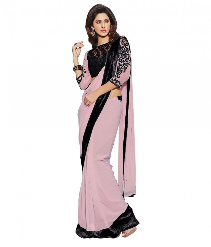 Simple Sarees Pink Georgette Saree - Buy Simple Sarees