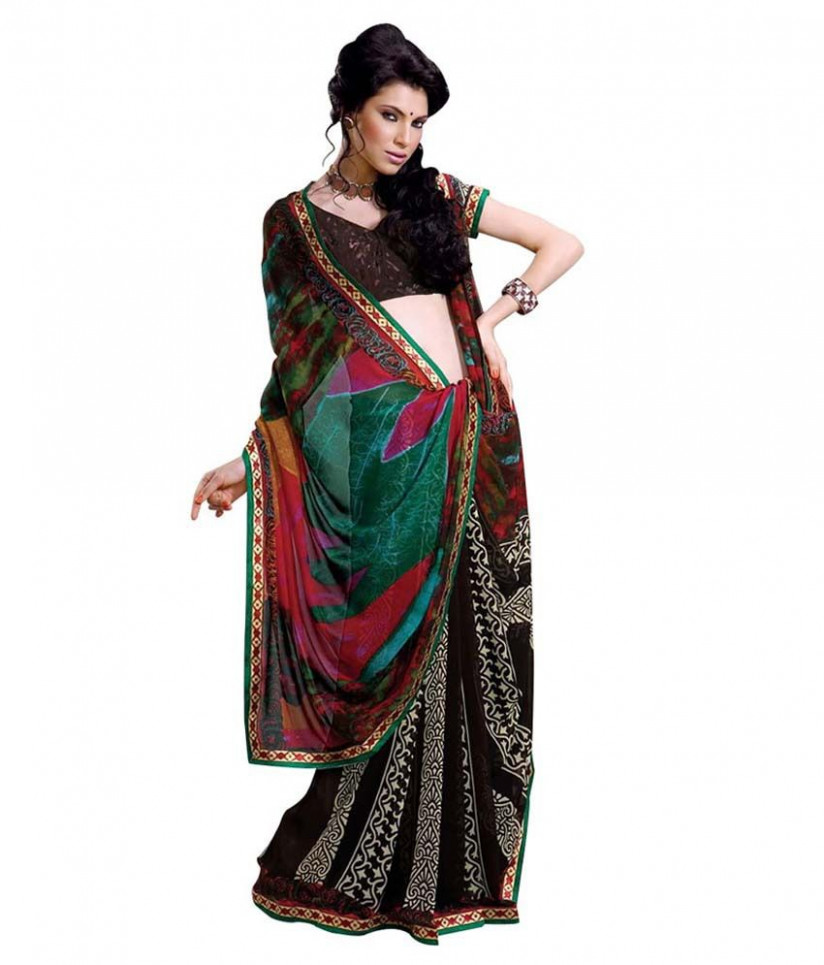 Simple Sarees Printed Casual Wear Georgette Saree - Black