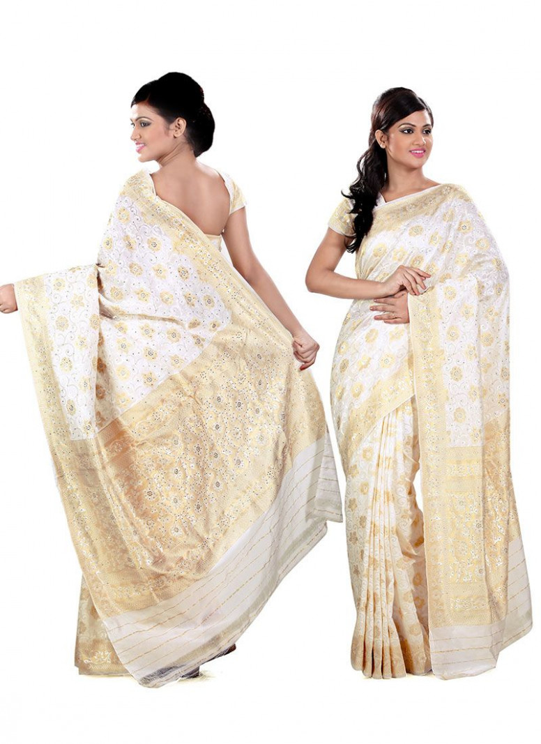 Simple white and gold silk saree, with embroidery #indian