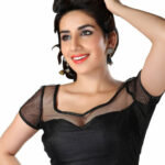 Sizzling Black Designer Net Fabric Saree Blouse Sari Top