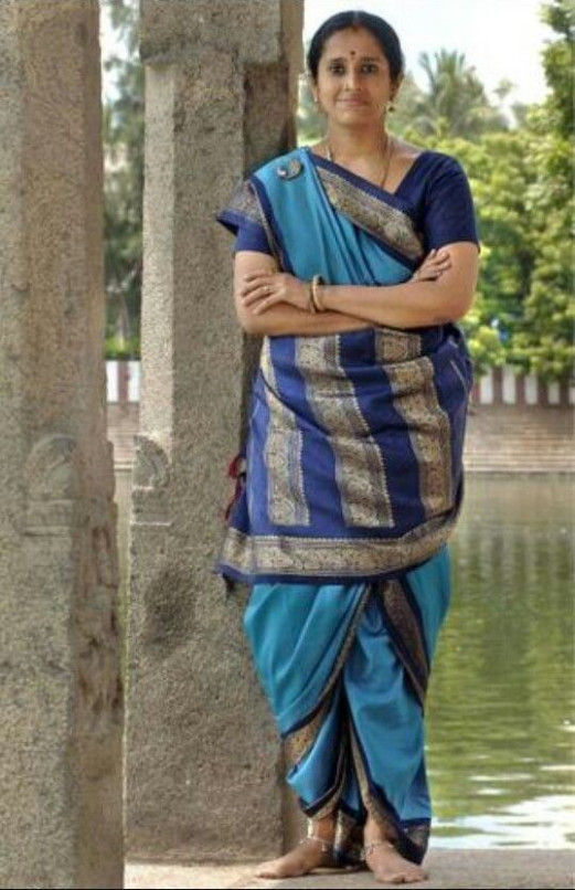 Sky Blue and Royal Blue Nine Yard Saree Draped in the Iyer