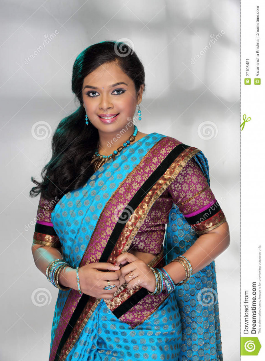Smiling Young Indian Girl In Saree Stock Image - Image of