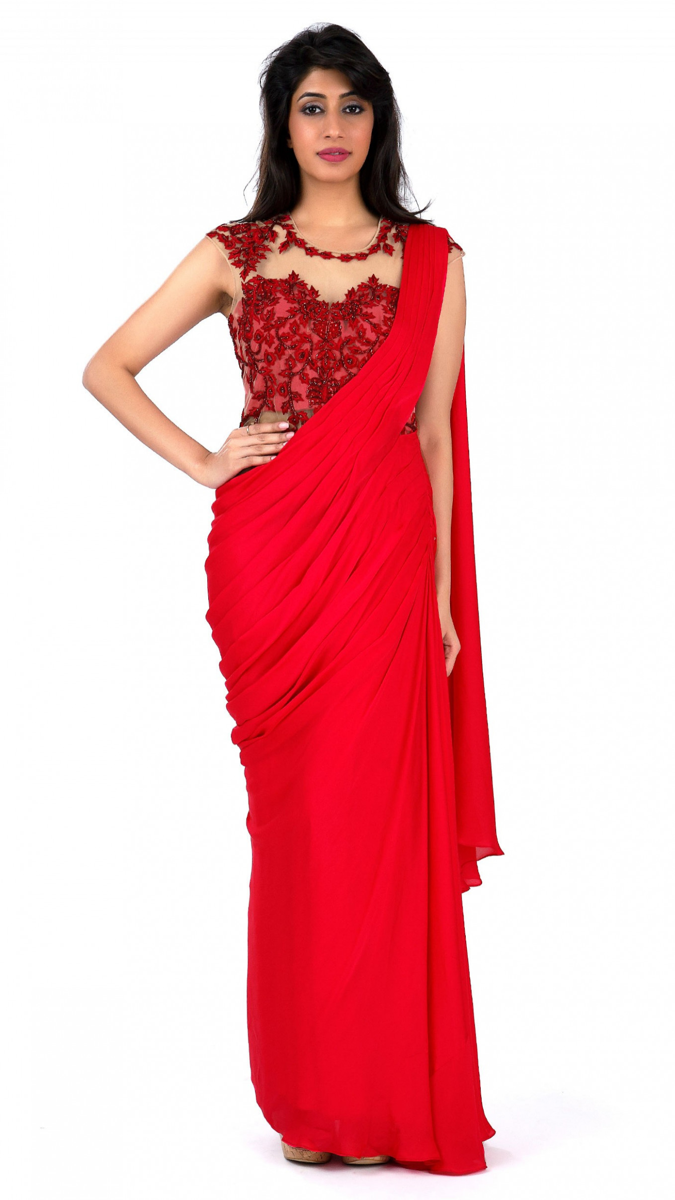 Sonaakshi Raaj's Red Saree Gown with Highlights
