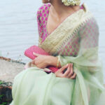 Sophisticated boat neck blouses with saree Read more about