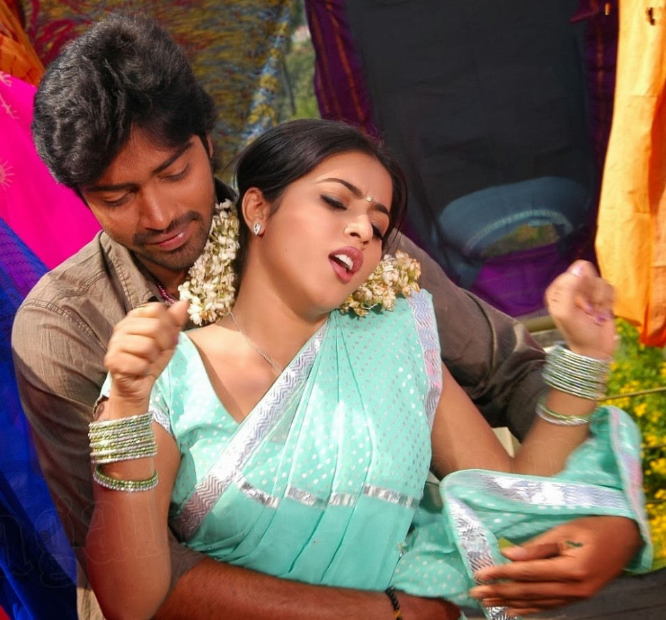 South Actress Poorna Boobs Press While Romance in Saree