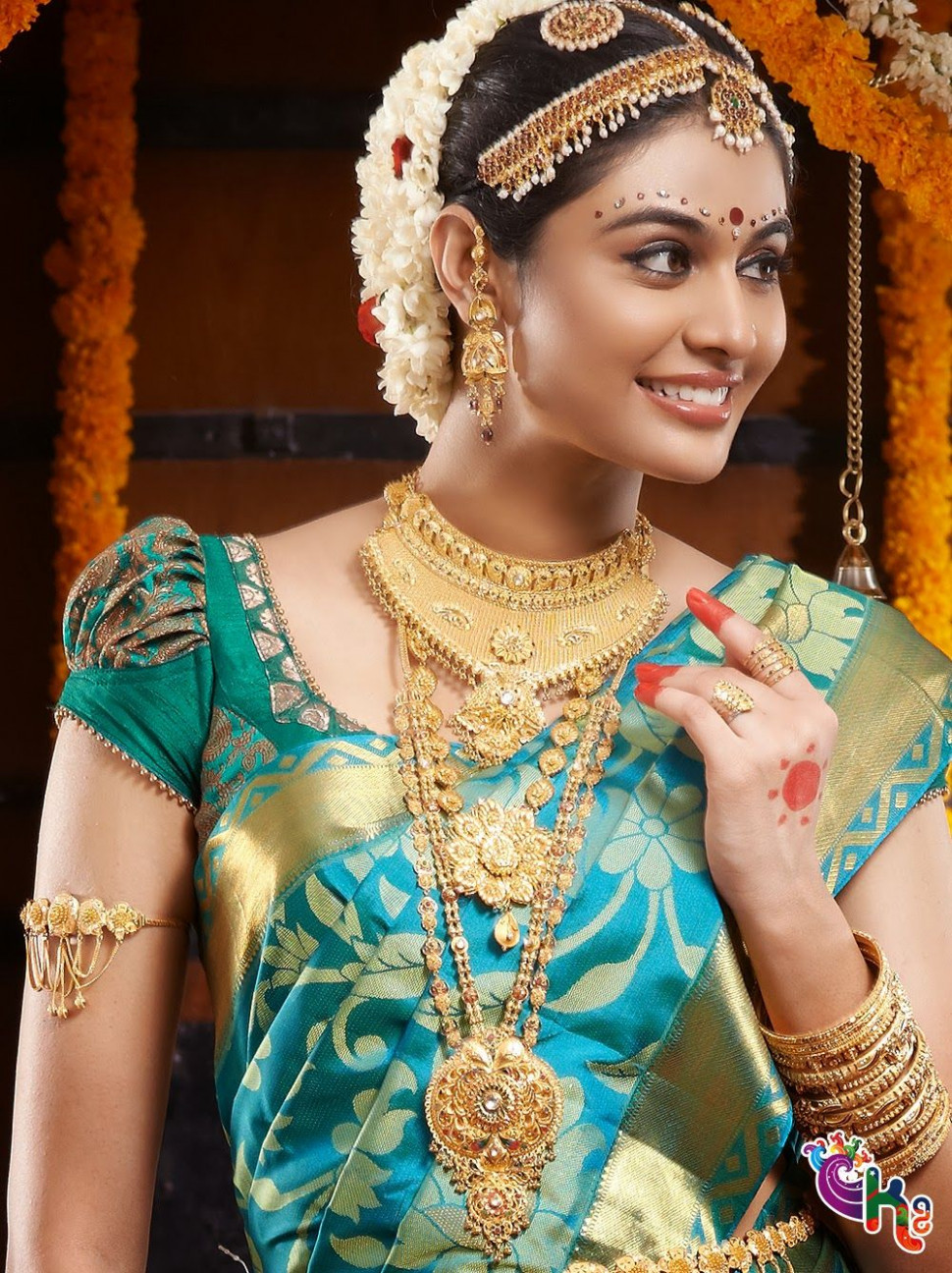 South indian Bride with silk saree and jewallary. Love the