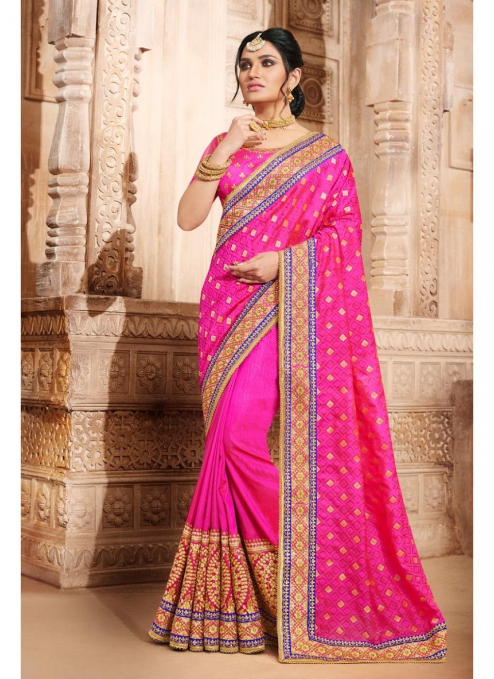 Spectacular Magenta Color Party Wear Embroidered Saree