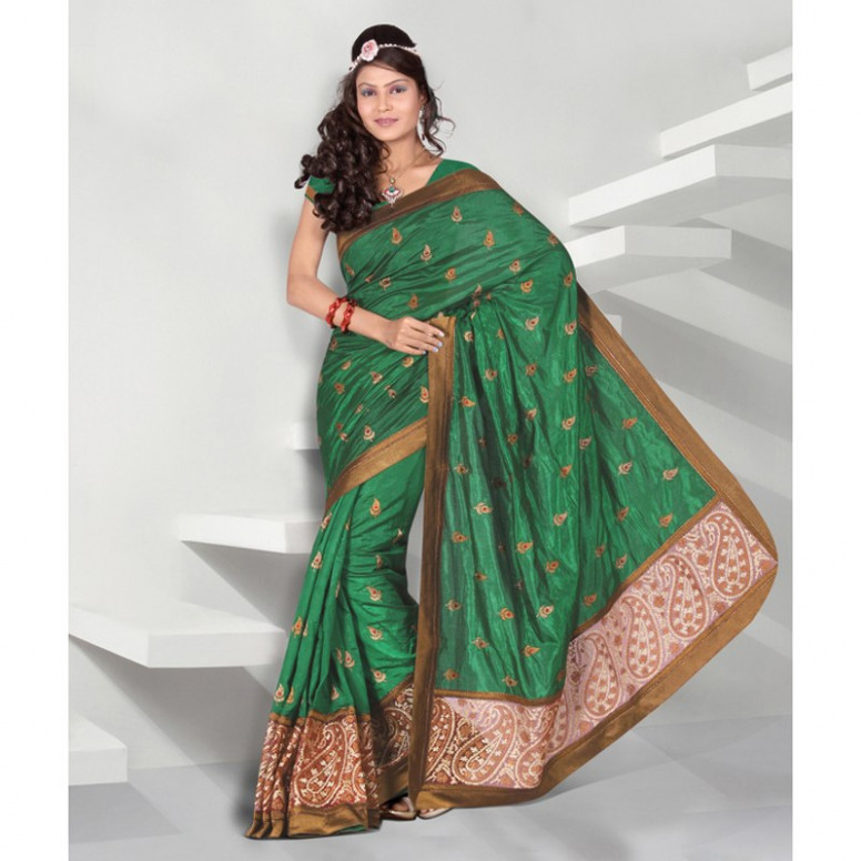 Splendorous Emerald Green Embroidered Saree-Online Shopping-